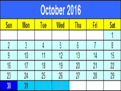 Happy Diwali 2016 Date Calender