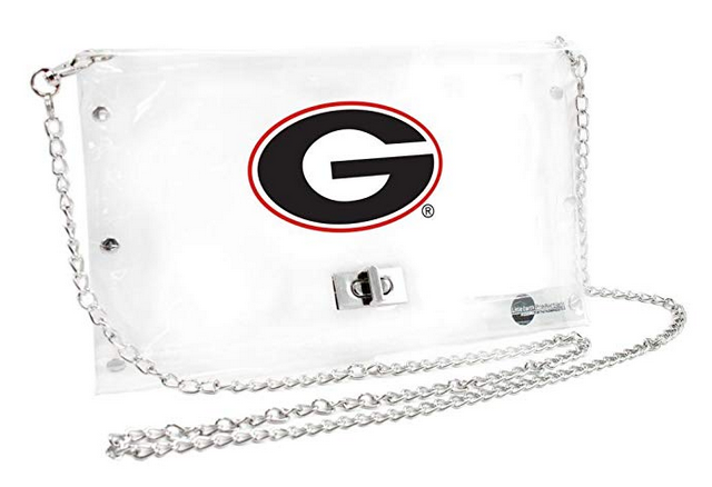 georgia bulldogs clear envelope purse gameday