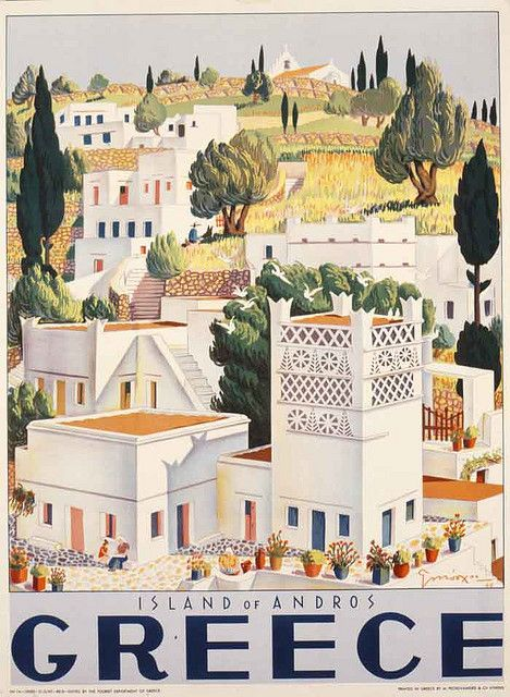 Greek vintage travel poster Andros