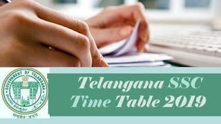10th Board Exam Time table 2019 Telangana, Telangana 10th Time table 2019, TS 10th 2019 Time table, TS 10th Class 2019 Time table
