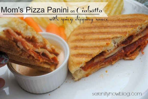 Homemade Pizza Panini with Spicy Dipping Sauce (no Panini-Maker needed!) from Serenity Now