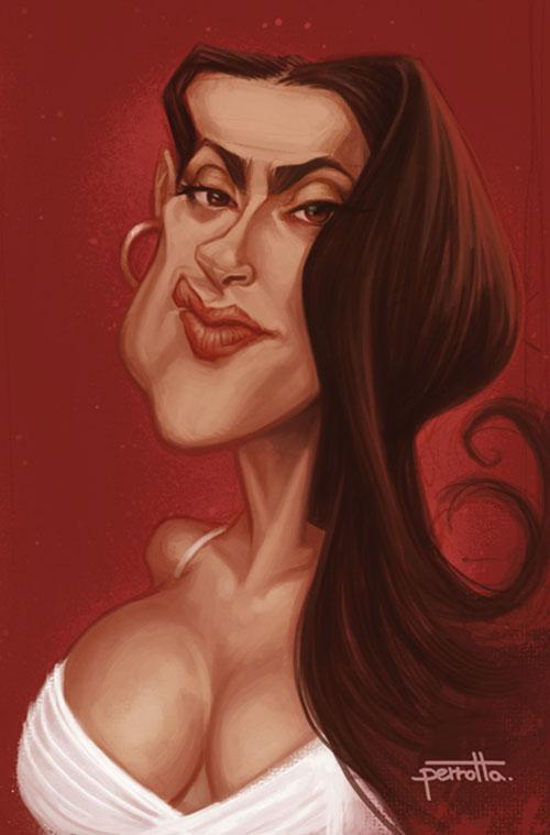 "Caricatura de ""Salma Hayek"" por Mario Perrotta"