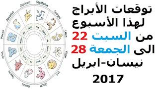 توقعات الأبراج لهذا الأسبوع من السبت 22 الى الجمعة 28 نيسان-ابريل 2017
