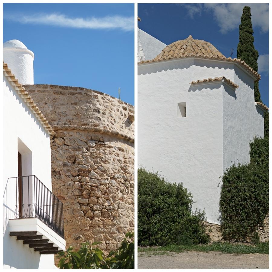 Blog + Fotografie by it's me! - Reisen - La Isla Blanca Ibiza, Santa Eurlaria - franzözischer Balkon und ein Gebäuder in der Klosteranlage