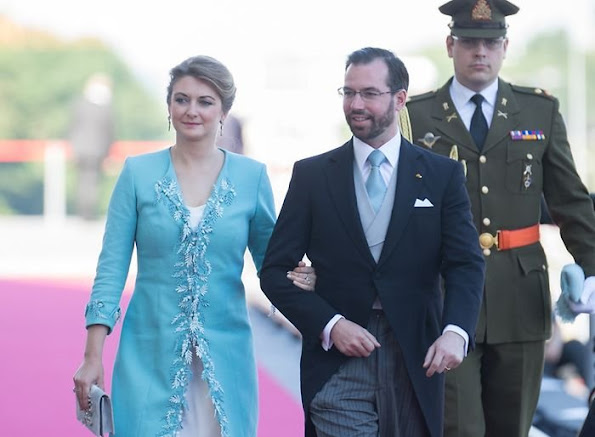 Grand Duke Henri, Grand Duchess Maria Teresa, Hereditary Grand Duke Guillaume, Hereditary Grand Duchess Stéphanie, Prince Félix, Princess Claire, Prince Louis,  Princess Tessy, Princess Alexandra,  Prince Sebastien. Luxembourg's National Day