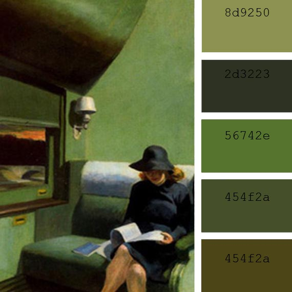 "paleta del color verde: ""Compartimento C"", Edward Hopper"