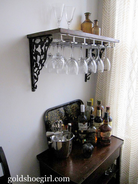 Gold Shoe Girl Guest Post Diy Wine Glass Rack Amp Beverage