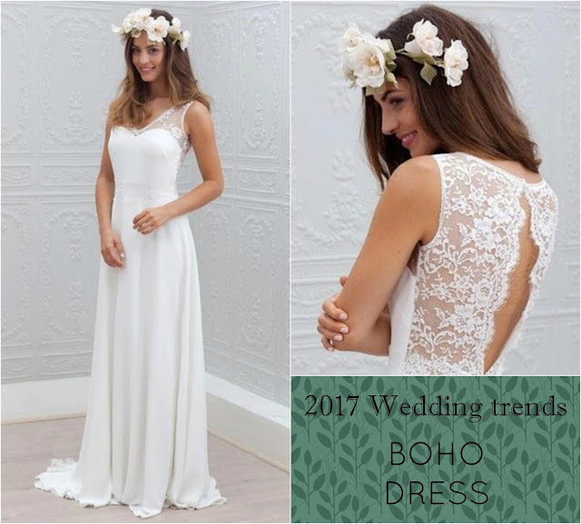 2017 Ultimate wedding trends: the boho look and deep back cut. Dress by Milly Bridal UK