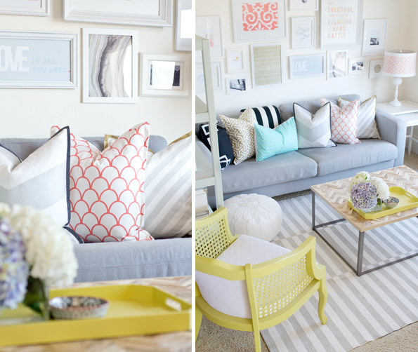 stenciled and painted pillows