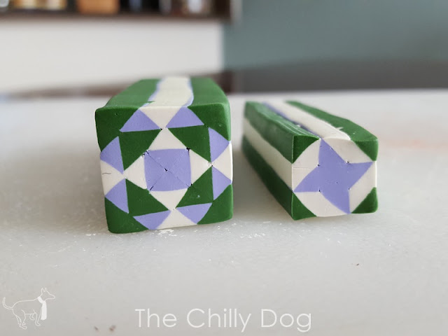 Quilt block inspired polymer clay canes