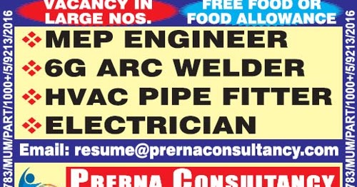 MEP Engineer - 6G Arc Welder - HVAC Pipe Fitter