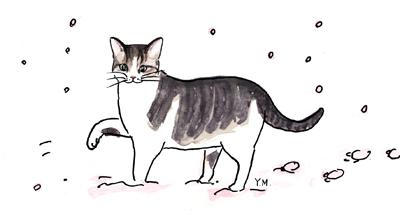 Cat walking in a snow by Yukié Matsushita