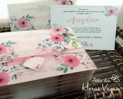 convite de aniversário infantil casamento noivado 15 anos luxo sofisticado envelope papel vegetal estampa floral aquarelado rosa delicado jardim encantado moderno