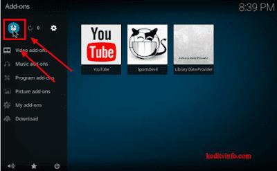 Select Addons option on Exodus Kodi Addon