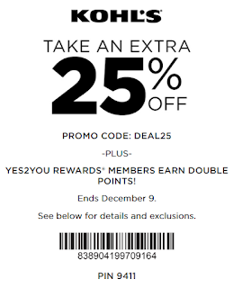 Kohls coupon 25% OFF sitewide
