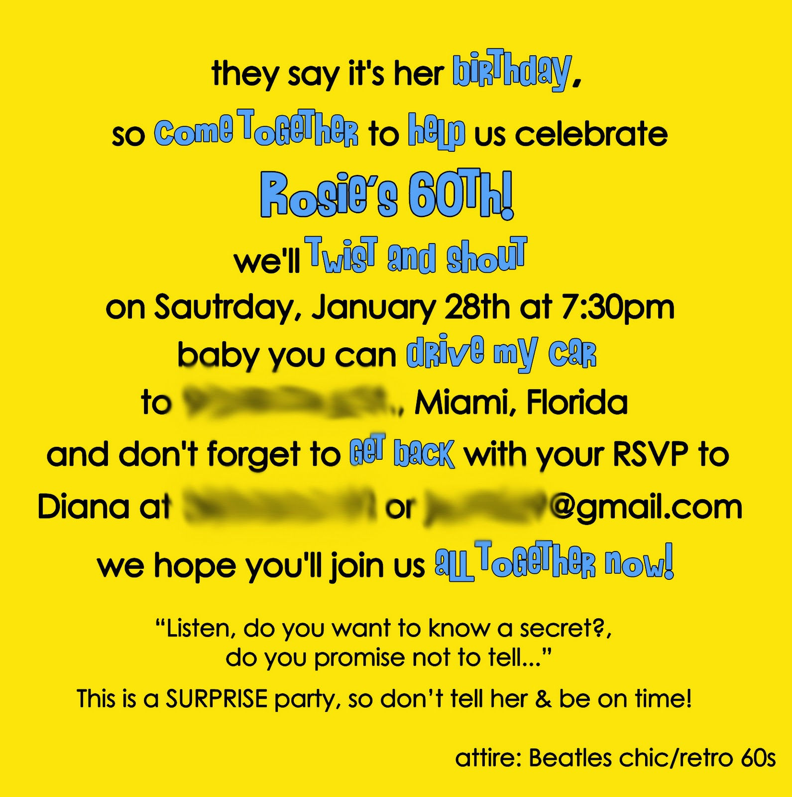 designed by Diana: Mom's 60th Birthday Beatles Party