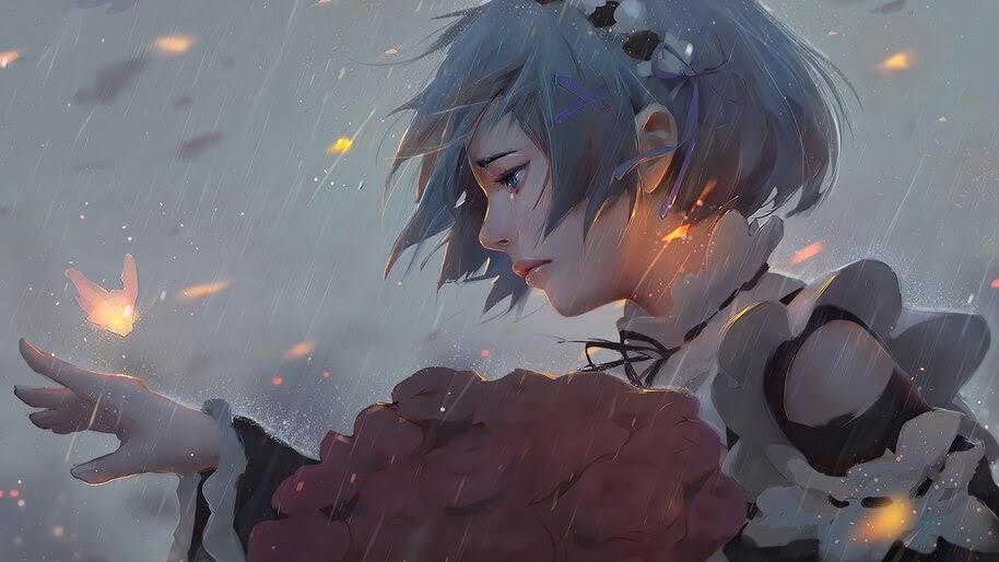 Anime, Girl, Crying, Rem, Re:Zero, 4K, #4.2732