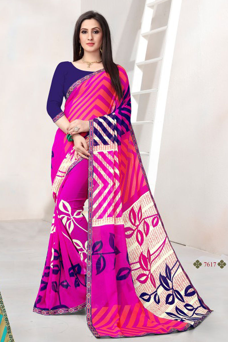 ea97dc0c5265c5 A Bunch Of Georgette Printed Event Wear Simple Saree Set From LKFABKART.