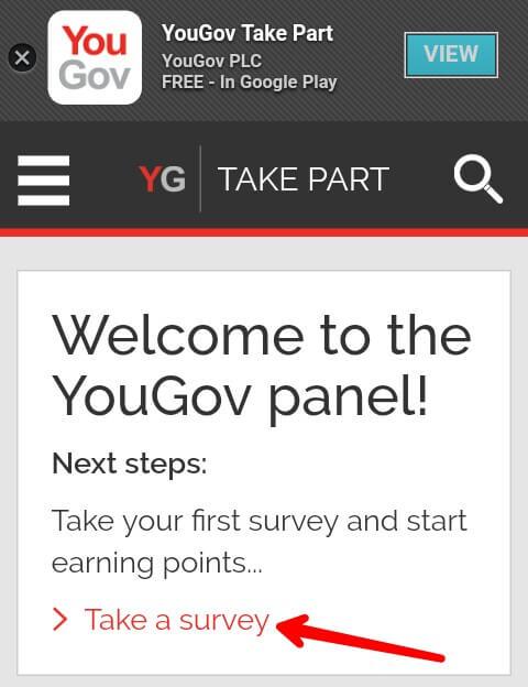 """Sampai disini Anda telah berhasil mendaftar / membuat akun You Gov, untuk memperoleh 100 Point pertama silahkan masuk ke akun Anda terlebih dahulu dan pilih """"Take a survey""""."""
