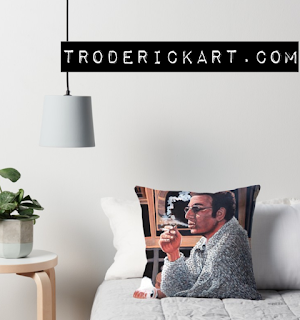 throw pillow of Cosmo Kramer by Boulder portrait artist Tom Roderick
