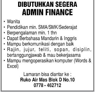 Lowongan Kerja Admin Finance Lulusan SMA/SMK