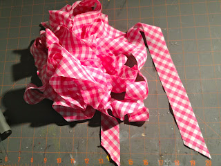 bias cut strips pink gingham fabric