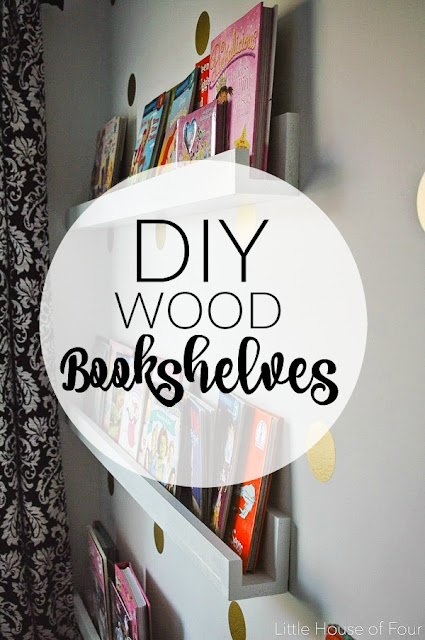DIY wood bookshelves/ledges