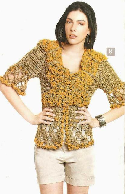 Patrón #1561: Chaqueta a Crochet