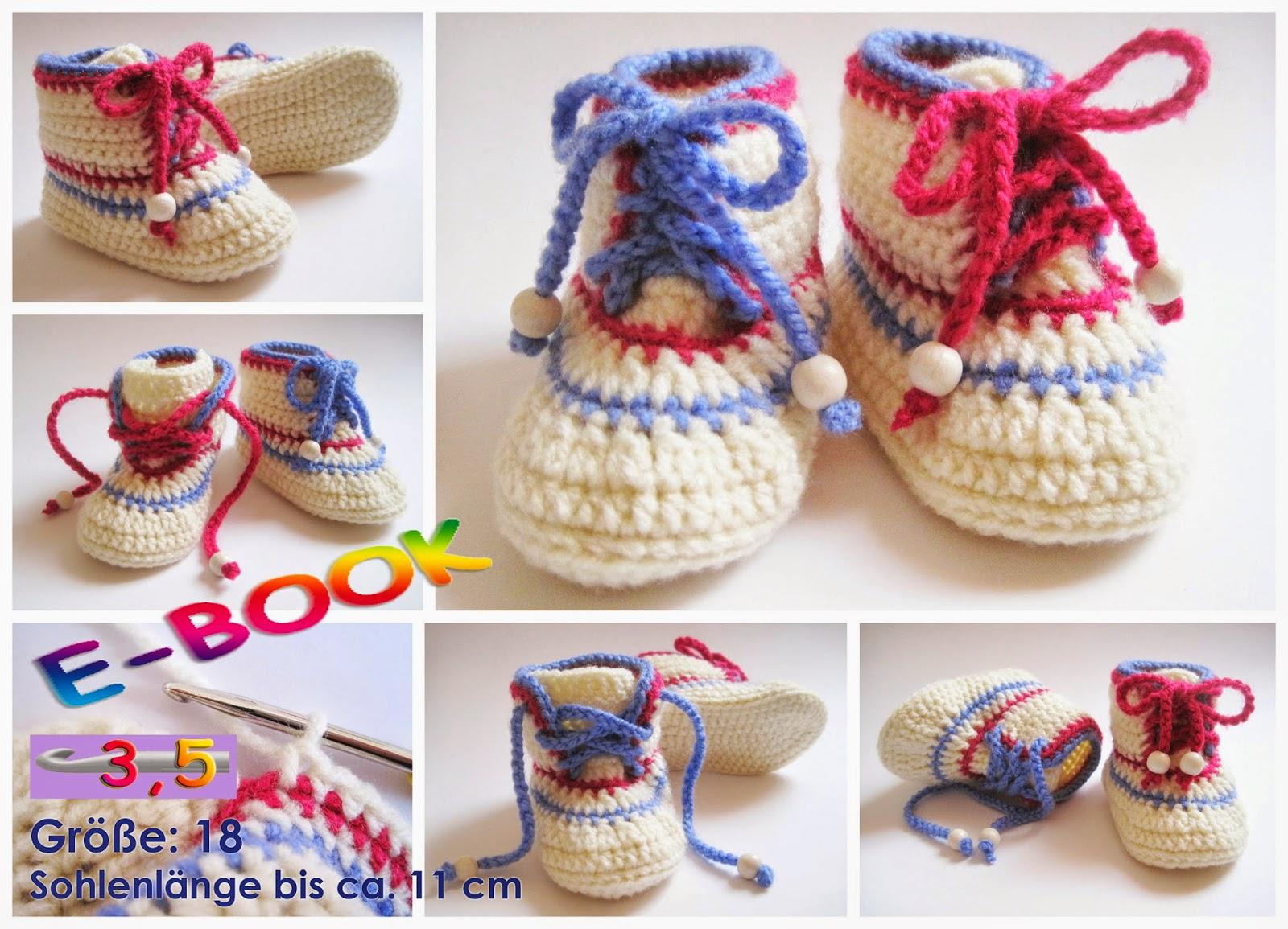 Baby sneakers häkeln, Baby Schuhe häkeln, Anleitung