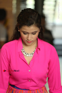 Actress Mannar Chopra in Pink Top and Blue Skirt at Rogue movie Interview  0098.JPG