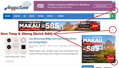 kesal dengan adanya ikon/logo tang dan obeng di blog. Sebenarnya itu banyak manfaatnya. Ikon tang dan obeng merupakan quick edit widget yang memudahkan kita untuk edit widget tanpa membuka blogger.