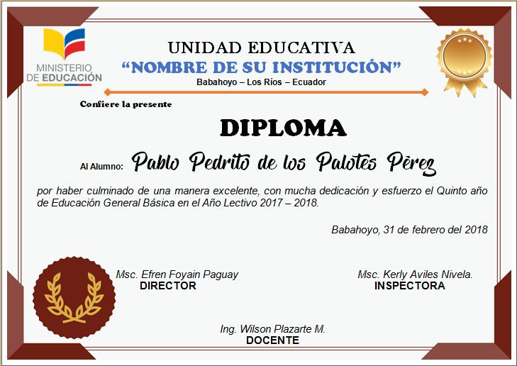 Diplomas Editables En Word Para Imprimir