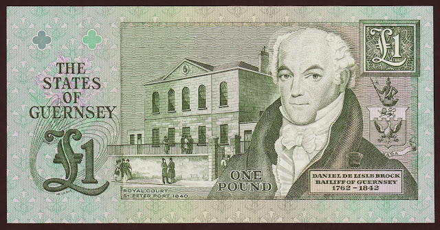Guernsey Banknotes money currency 1 Pound banknote 1991 Daniel de Lisle Brock