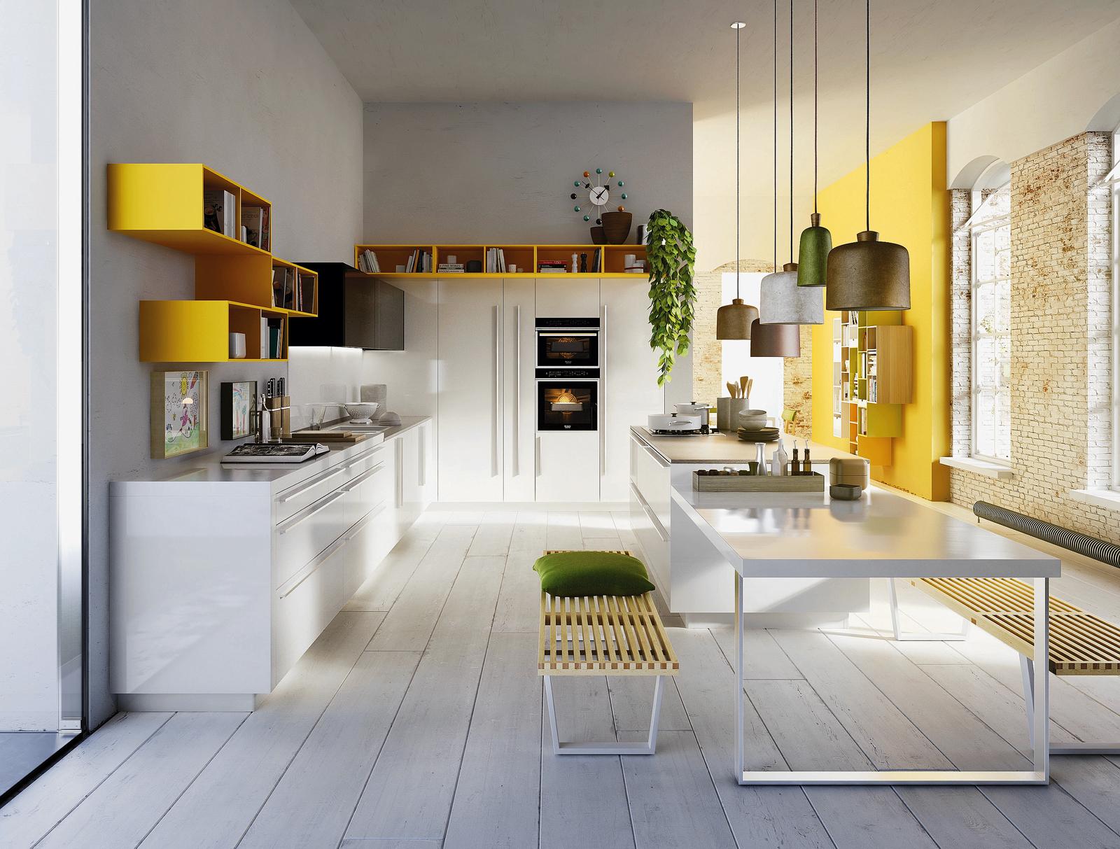 Soggiorno pareti gialle lampadari moderni soggiorno divano