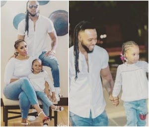 Flavour rocks matching outfit with his baby mama and daughter in new photos