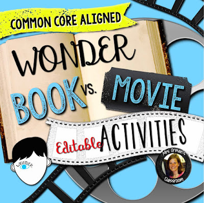 Wonder Book and Movie Compare and Contrast Activities www.traceeorman.com