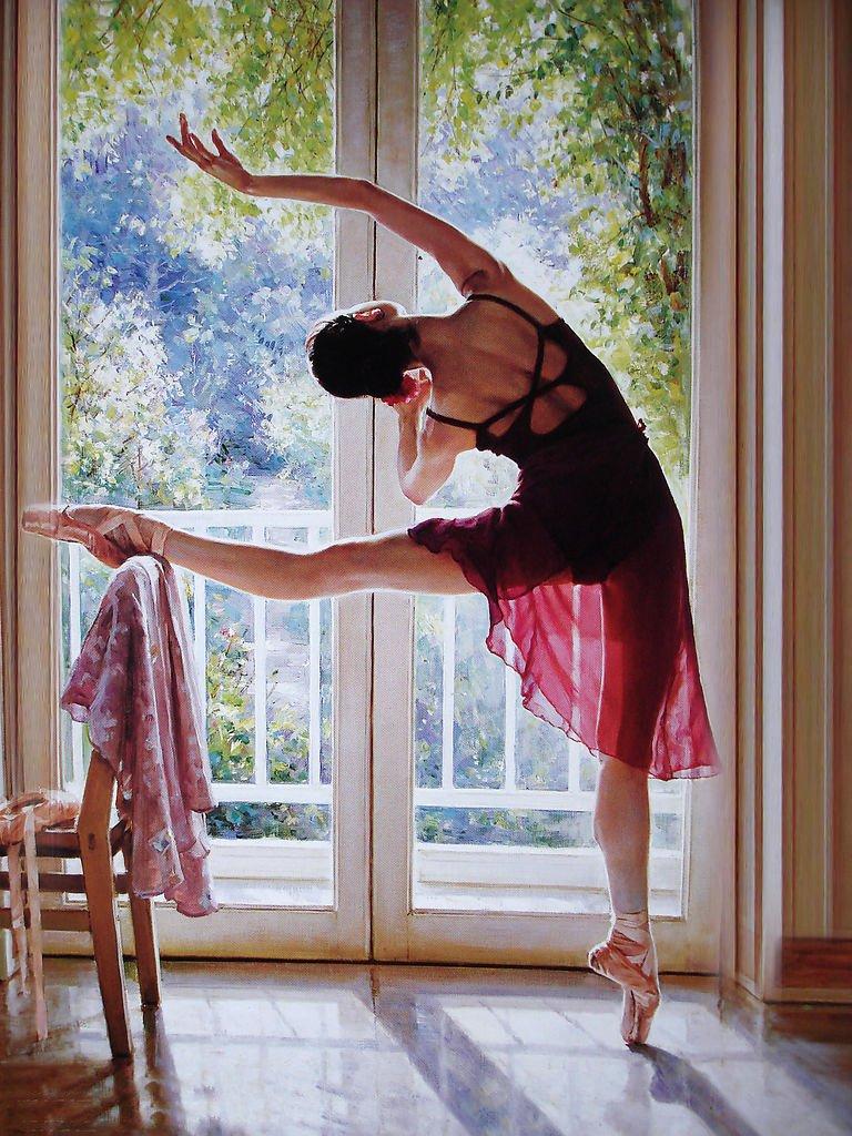LOVE ART: Beautiful ballet dancer oil painting