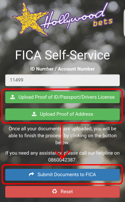 Once you have uploaded both documents, click the blue Submit Documents to FICA button