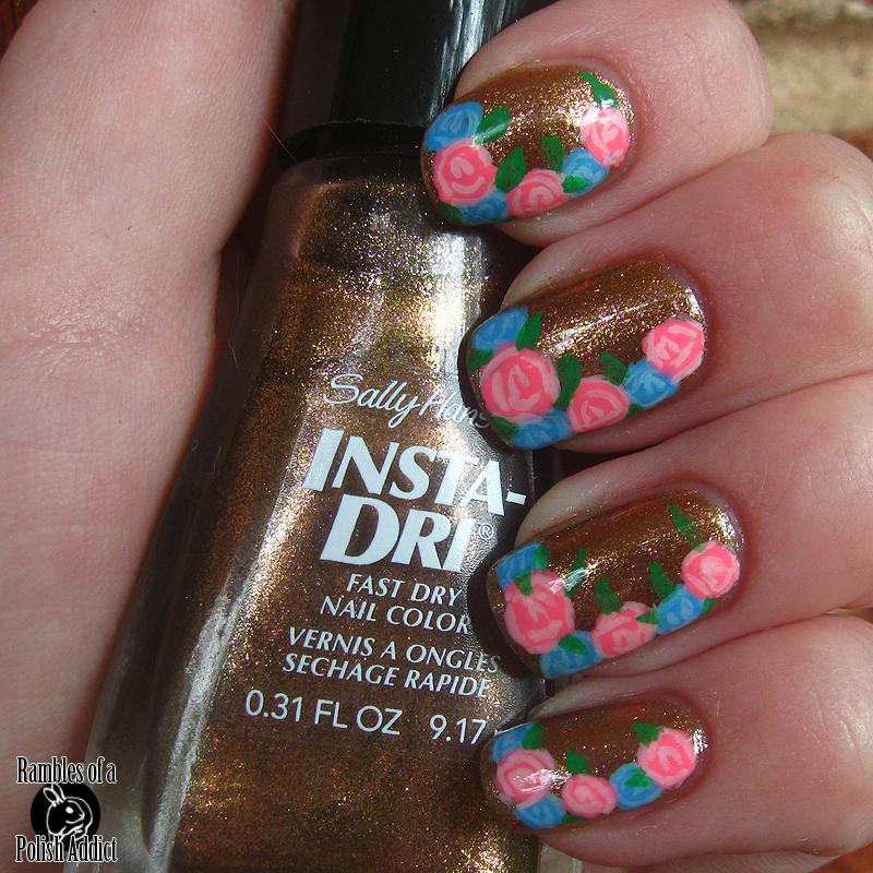 simple rose nail art!   Rambles of a Polish Addict