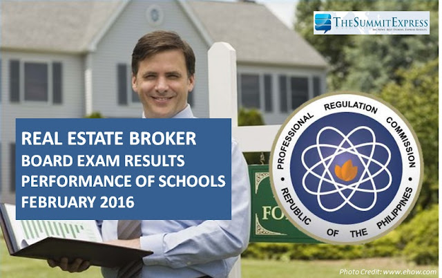 Performance of Schools February 2016 Real Estate Broker board exam