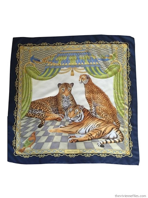 Vintage navy Ferragamo scarf with 2 lepards and a tiger
