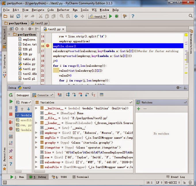 IDE and Debugging Function Comparison Between esProc, Perl