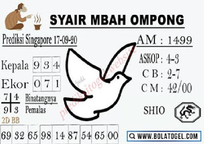 Kode syair Singapore Kamis 17 September 2020 214