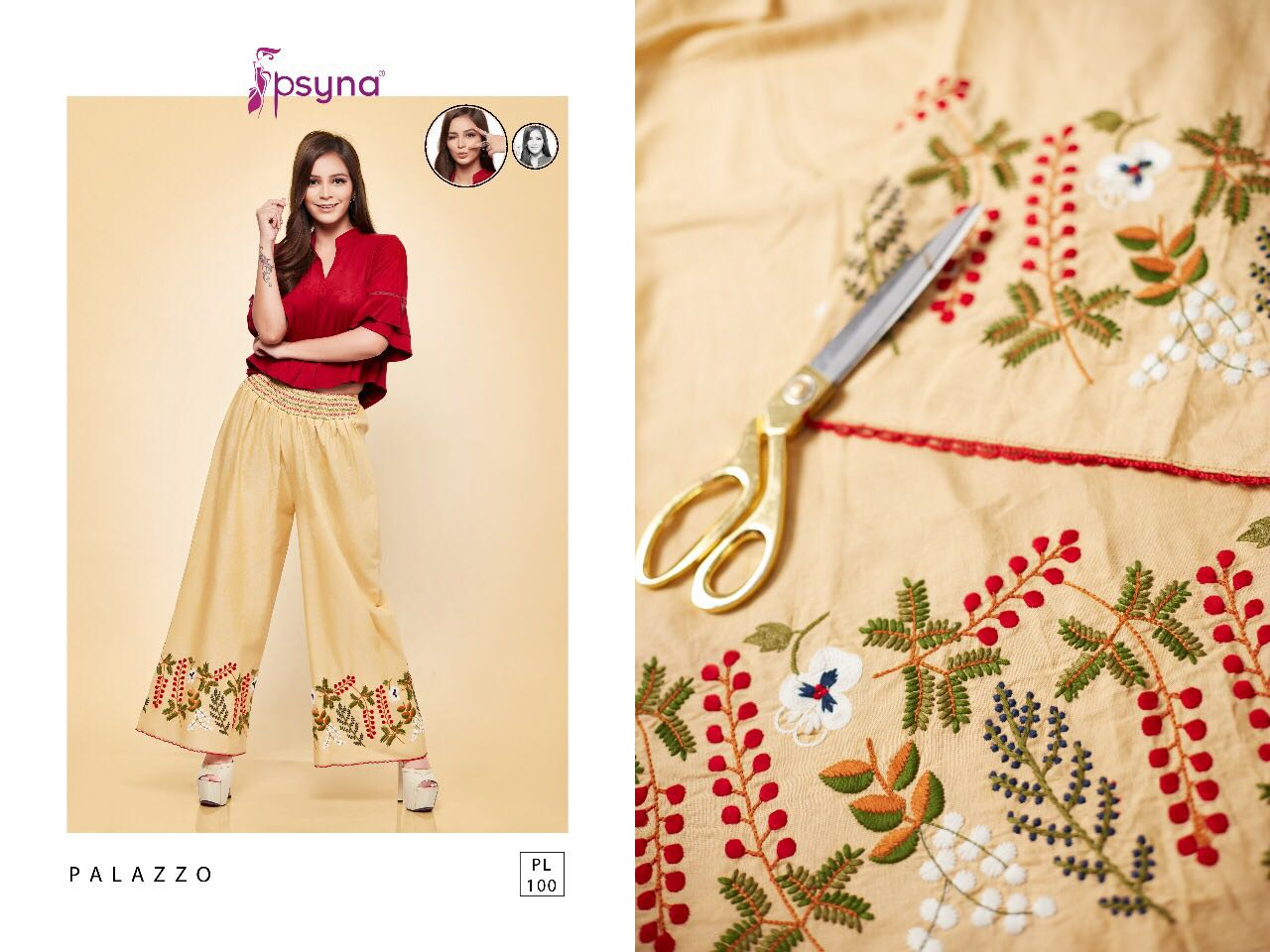 PALAZZO-10 – Cotton Linen Embroidery Plazzo