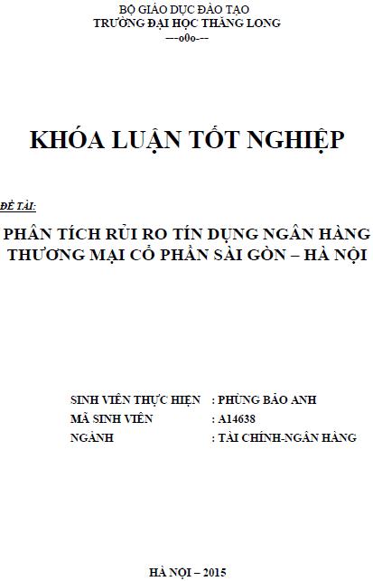 Phân tích rủi ro tín dụng Ngân hàng Thương mại Cổ phần Sài Gòn - Hà Nội