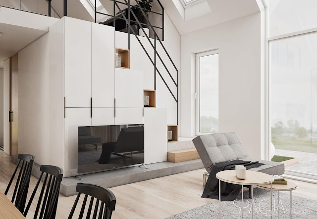 Proiect de amenajare cu dormitor la mezanin pentru o casă de 100 m²