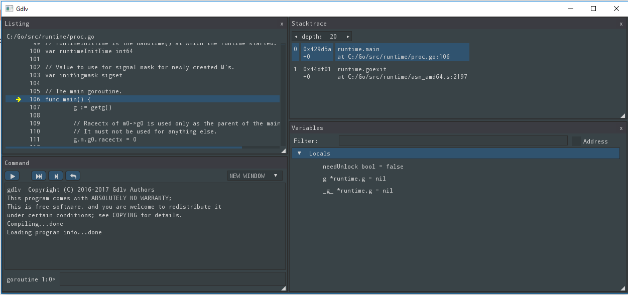 func Main ( ) { }: GUI for Delve Debugger Gdlv