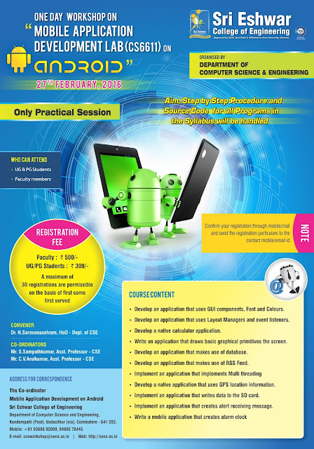 Mobile App Development Workshop at Sri Eswar College, Coimbatore