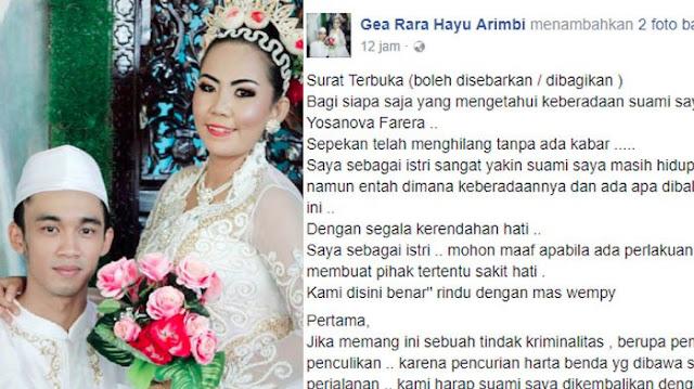 Suaminya Menghilang Tidak Ada Kabar, Wanita Ini Buat Surat Terbuka Di Sosial Media Isinya Bikin Terenyuh