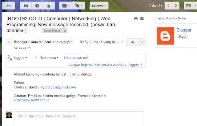 email yang masuk dari formulir kontak